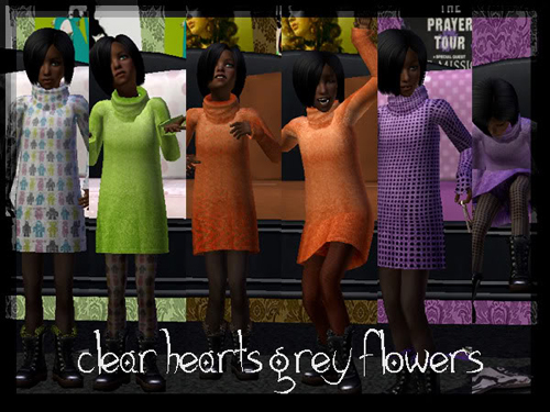 [Clear Hearts Grey Flowers] six CF sweater dress recolours