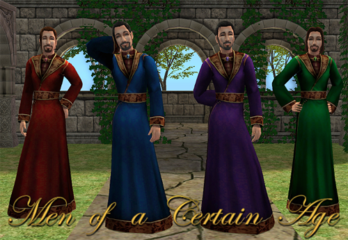 "Men of a Certain Age: 4 Recolors of Eclipse""s robe for your Noble Medieval Men"