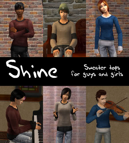 Shine: three sweater tops for guys and girls (now kids too!) Update Nov 2