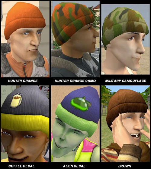 15 Unlocked Beanie Recolors for Adult, YA, Elder (solid & pattern)