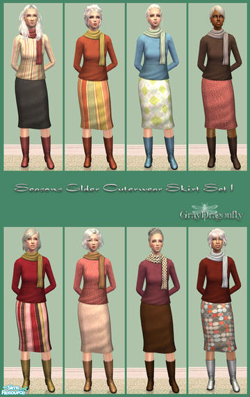 "GrayDragonfly""s Seasons Elder Outertwear Skirt - Set 1"